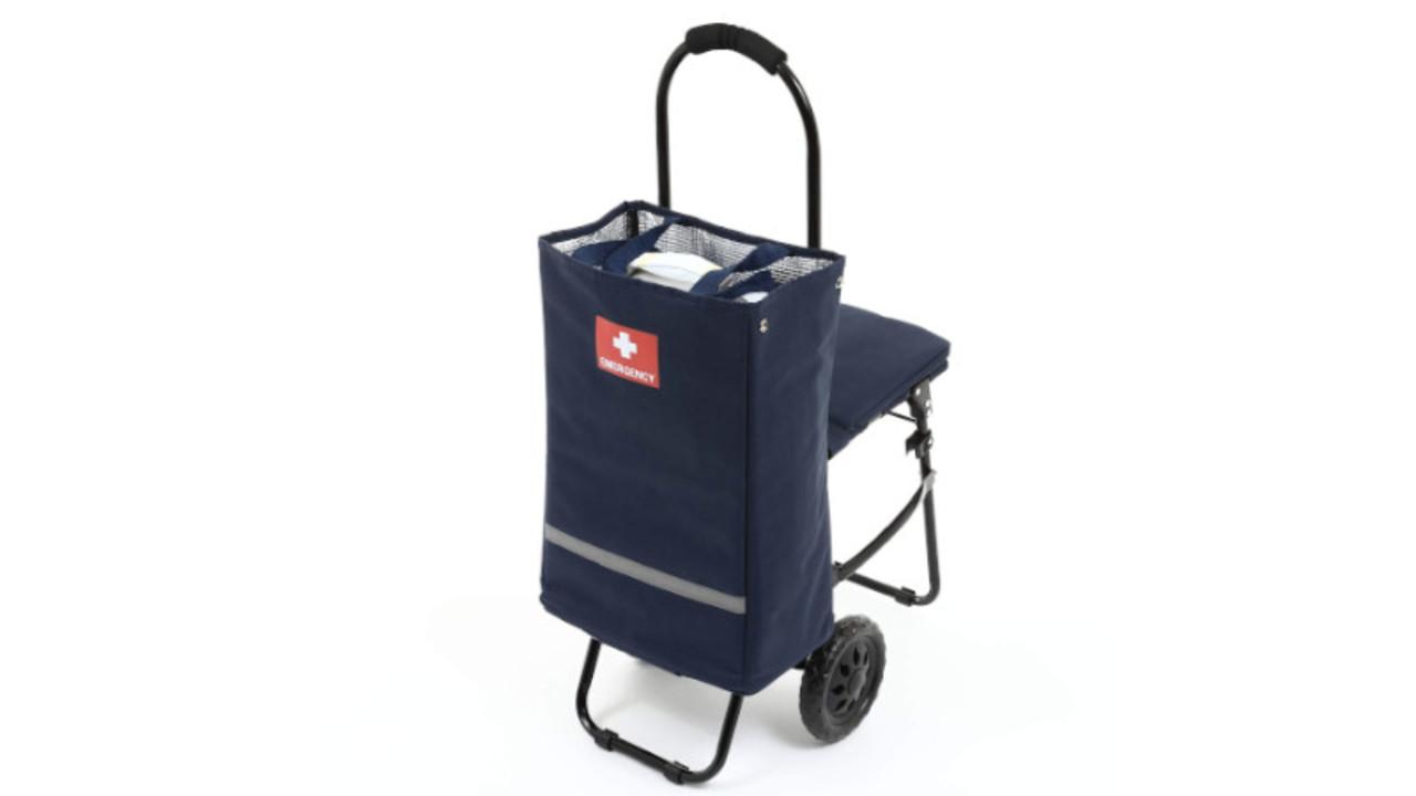 トートバッグにもなる、防災から日常まで活用できる「イス付き防災キャリーカート」