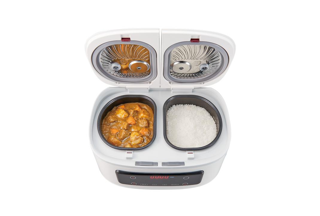 白米×カレーを放置召喚ッ! 最大4品を一度に調理できる、デュアルな炊飯器