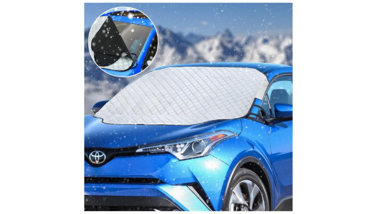 3重でしっかり固定できるフロントガラス凍結防止シート。多機能で年中使える