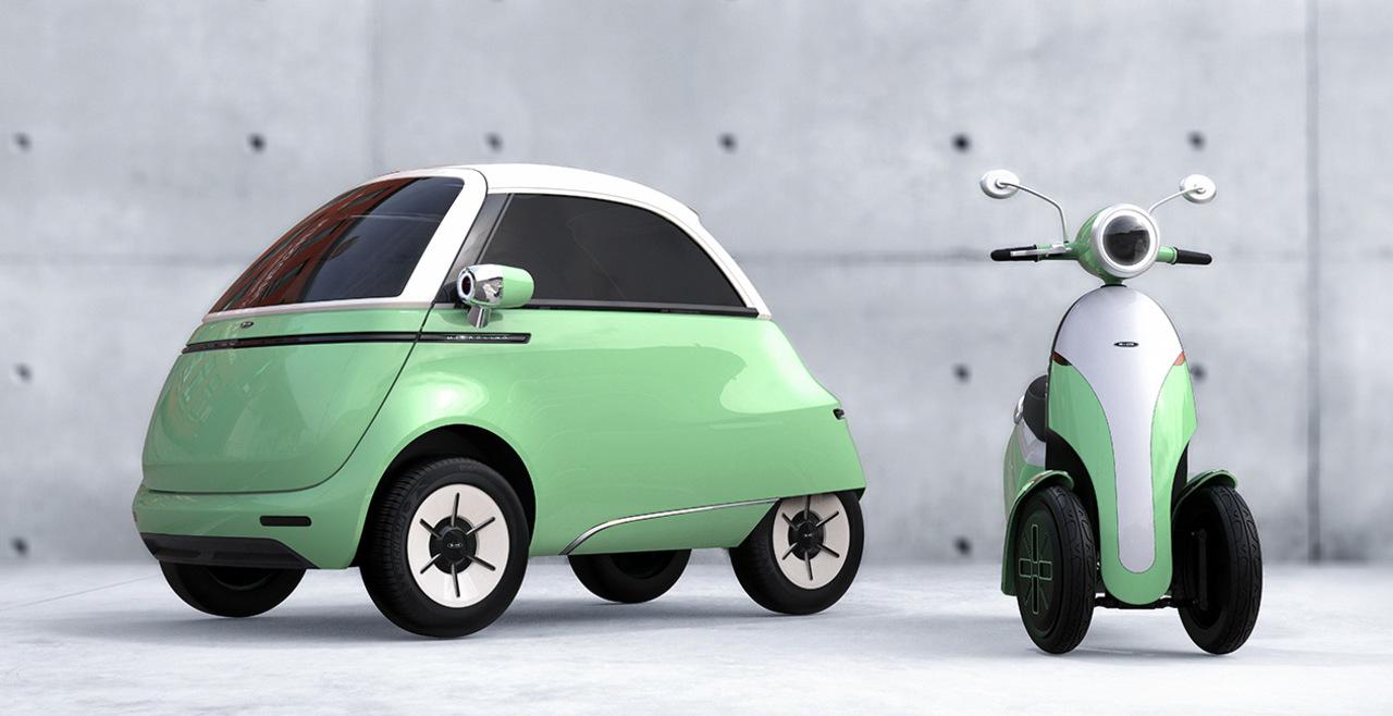 ドアの位置は正面。丸くてカワイイふたり乗り電気自動車(と3輪EVスクーター)