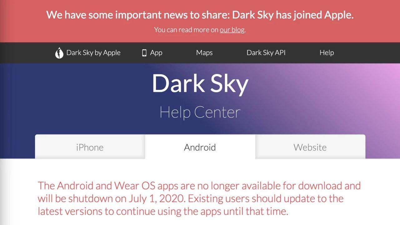 アップルがお天気アプリ「Dark Sky」を買収してAndroid版をKILL