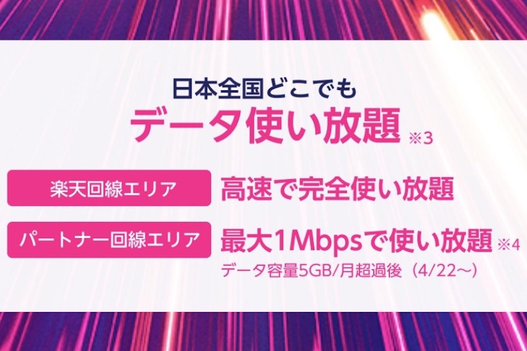 楽天モバイルのパートナー通信容量が5GBへ&その後も1Mbpsと実用的に