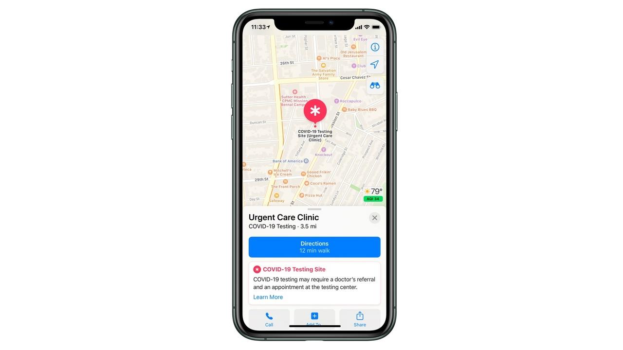 Appleのマップアプリ、米国で新型コロナウイルス検査場を近々表示できるように