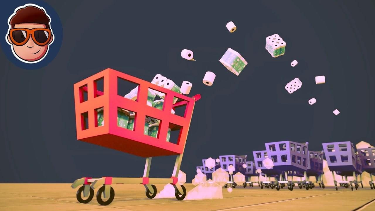 ショッピングカートを操りスーパーのトイレットペーパーを買い物するDIYレースゲーム
