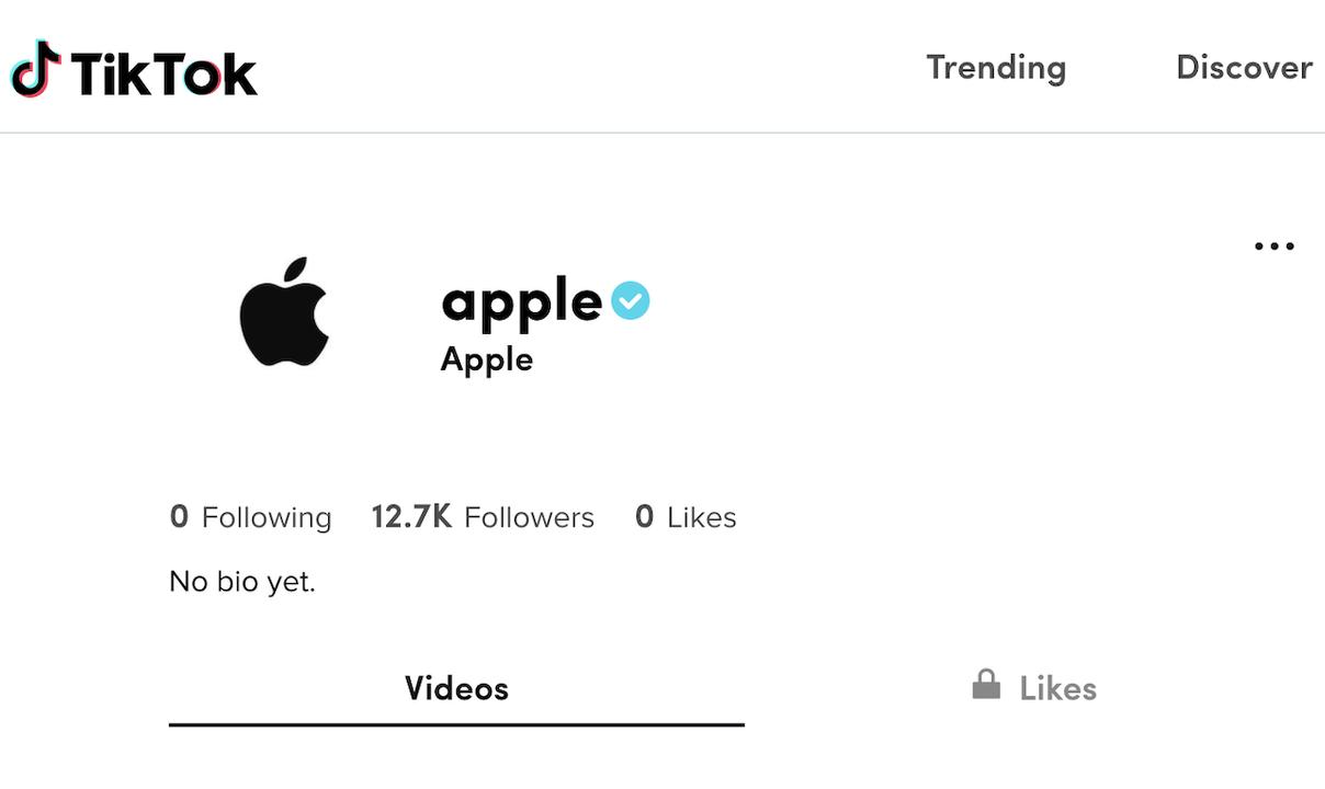 TikTokにリンゴマーク。Appleが公式アカウントを作成するも、投稿はまだなし