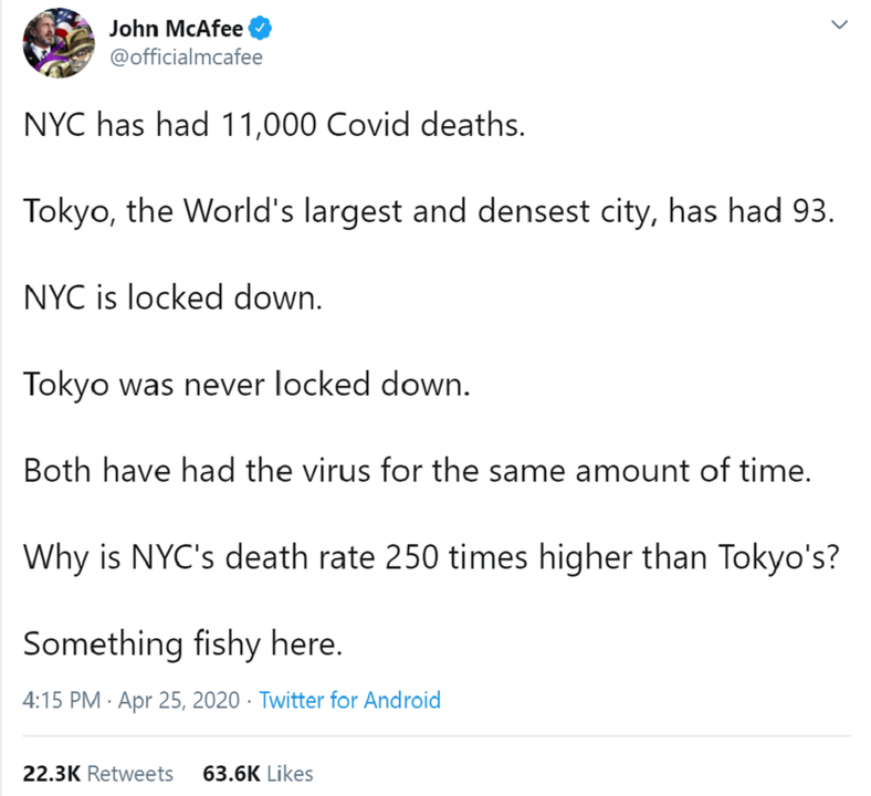 「東京に比べてNYのコロナ死者数は異常。病院の点数稼ぎ?」マカフィー発言の出元はこれ