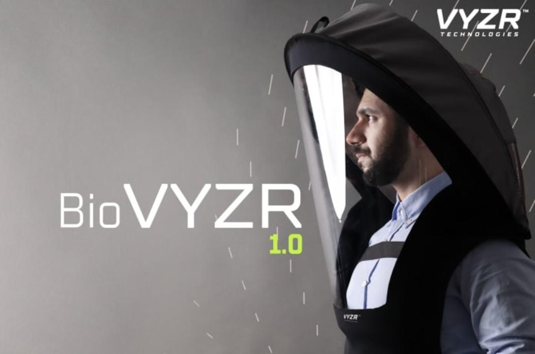 SF映画の宇宙飛行士?頭にかぶるエアフィルター「BioVYZR」