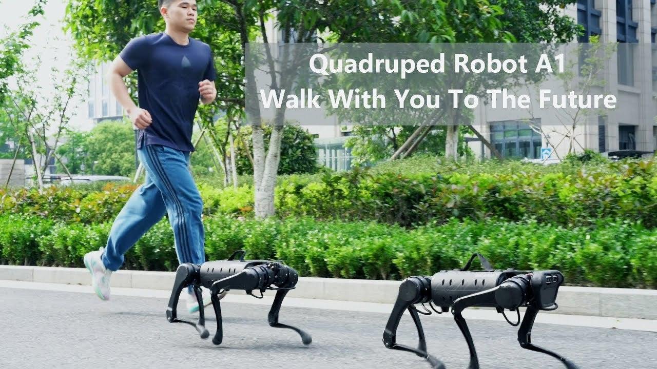 中華版「SPOT」の犬型ロボット「A1」。約100万円以下でジョギングも散歩も人間のお供に
