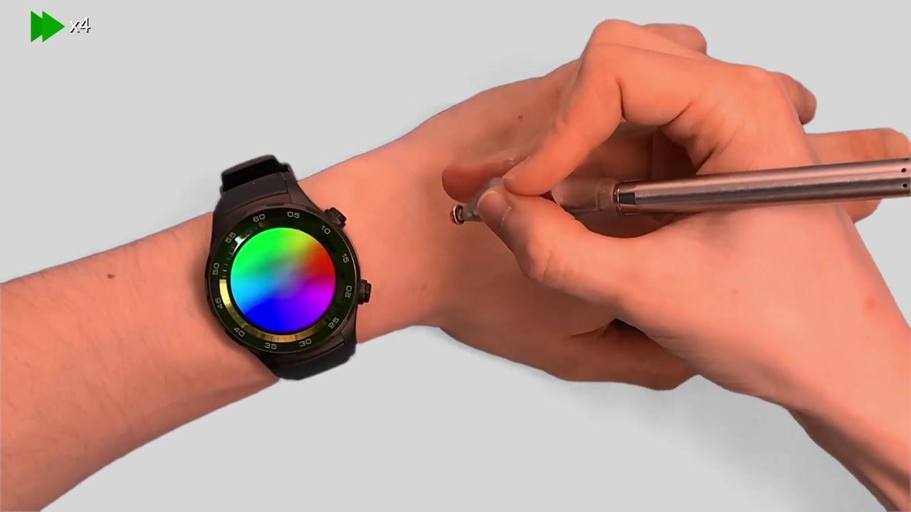 手の甲をお絵かきタブレットに、スマートウォッチをディスプレイにする研究