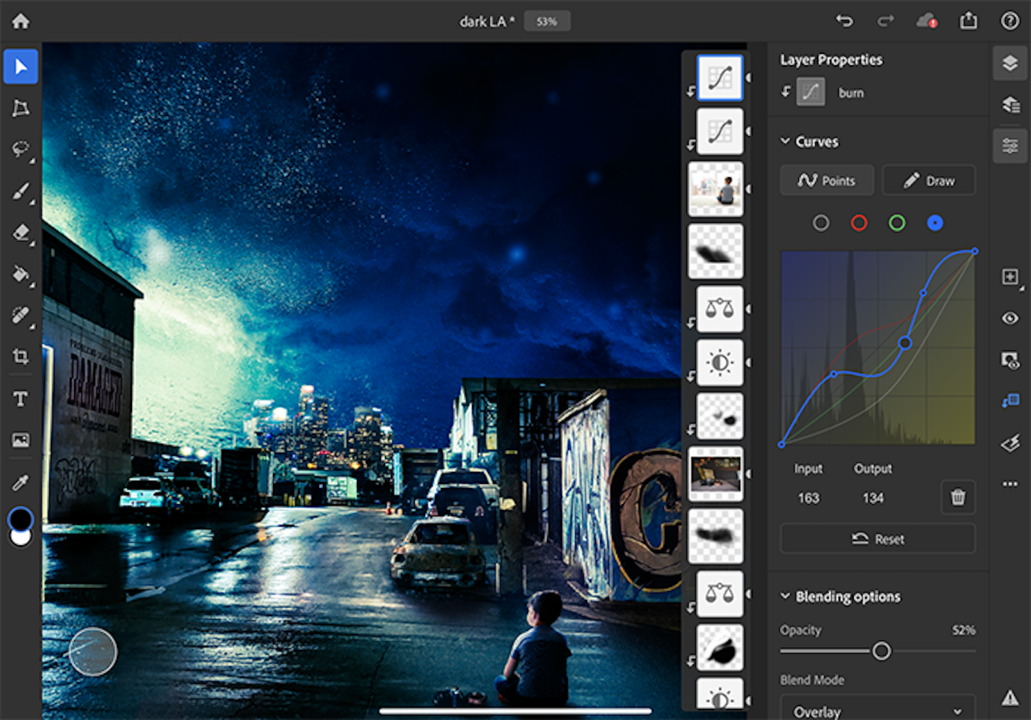 Photoshop iPad版でトーンカーブがやっと使える!