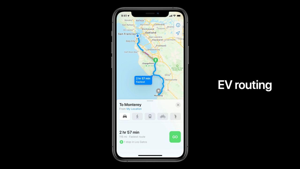 iOS 14のマップアプリ、EVの充電器の場所もナビできます #WWDC20