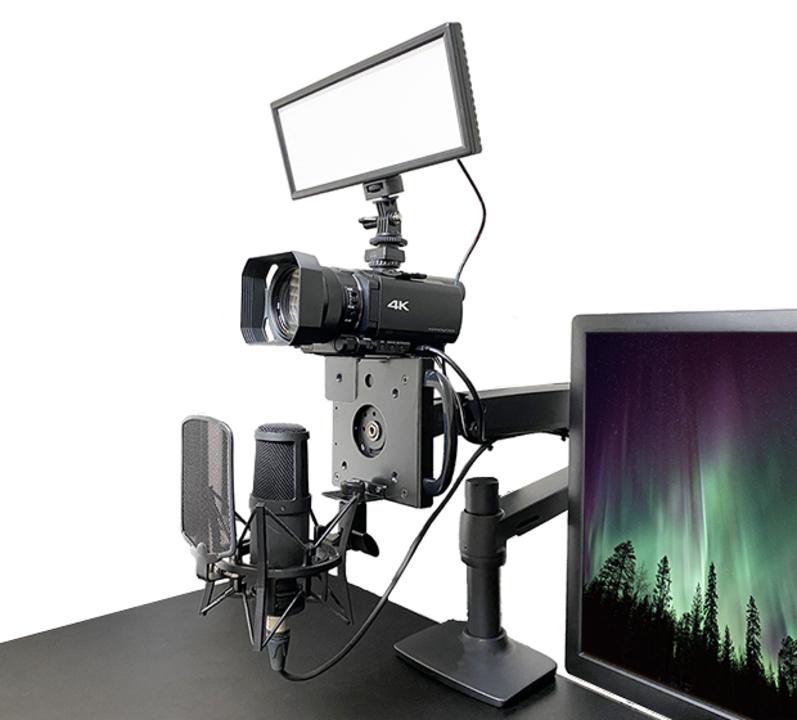 一眼Zoomによし! モニターアームにつけるカメラ&マイクマウント