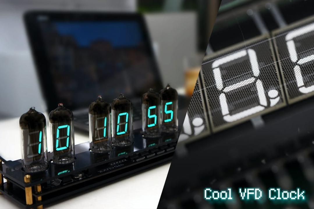 ちょっと懐かしい緑の7セグ。日本発祥のVFD管を使ったサイバー感溢れる置き時計が登場