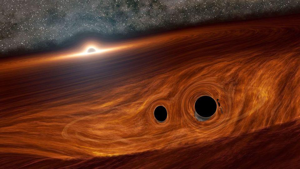 初。ブラックホールの衝突から光を発見