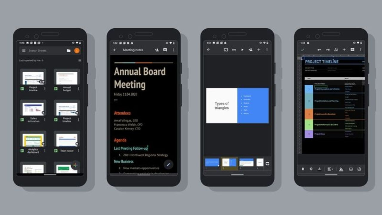 Android ユーザーに朗報。Googleドキュメント、スプレッドシート、スライドがダークモードに対応したよ!
