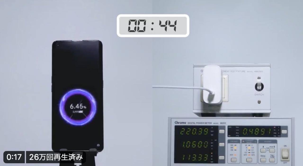 充電はっや! OPPOの125W充電器の実力を動画でチェック