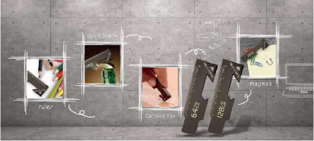 USBメモリ、栓抜きと定規になる