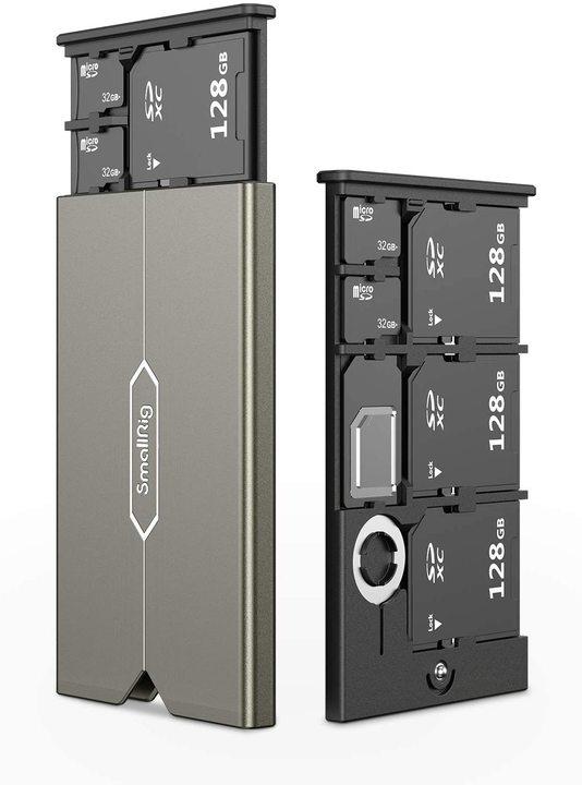 硬質でタフな見た目もナイス。SDカードとMicro SDとSIMが合計6枚収まるケース