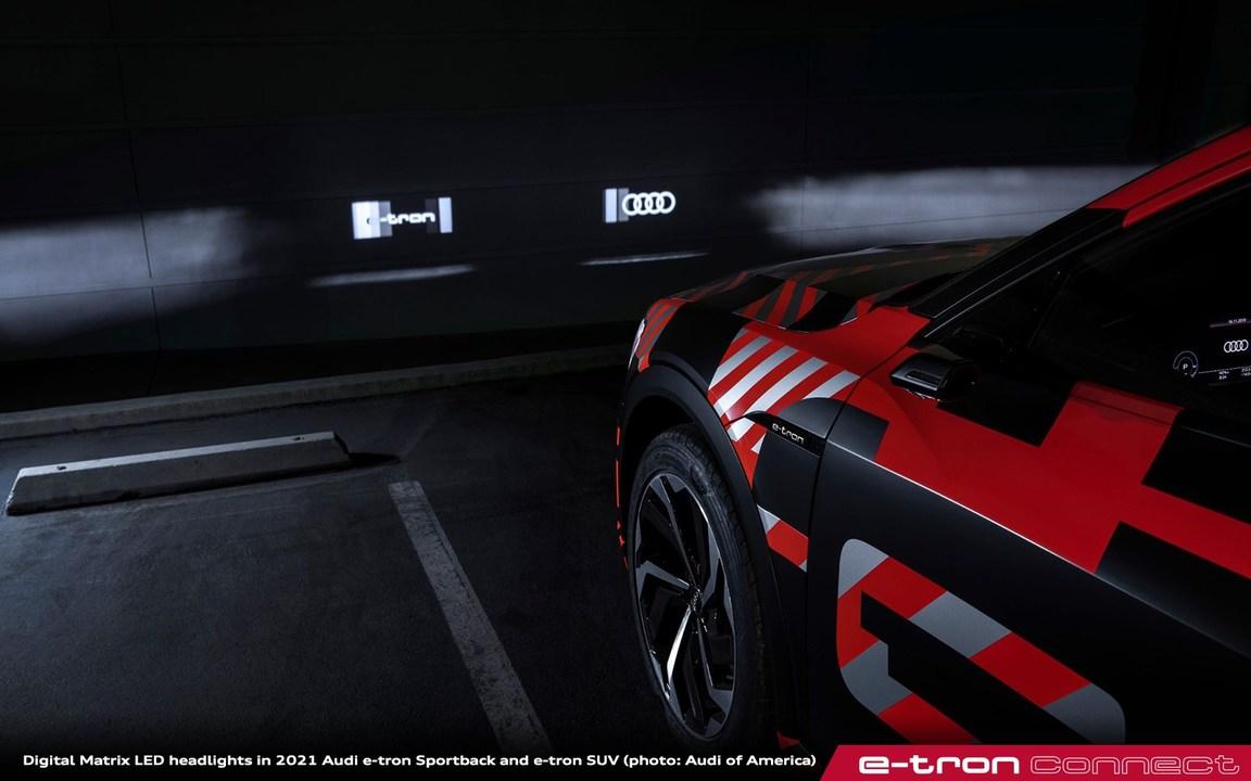 アウディ「e-tron」、前照灯にモーション・グラフィックスを映すプロジェクターを搭載