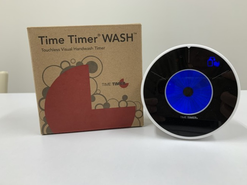 手洗い専用タイムタイマー「石鹸をつける・洗う・流す」をイラストでわかりやすく表示