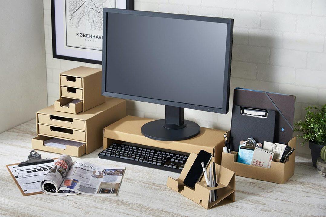 コロナ禍終わればリサイクル。デスク周りを簡易オフィスにするダンボール製のキット