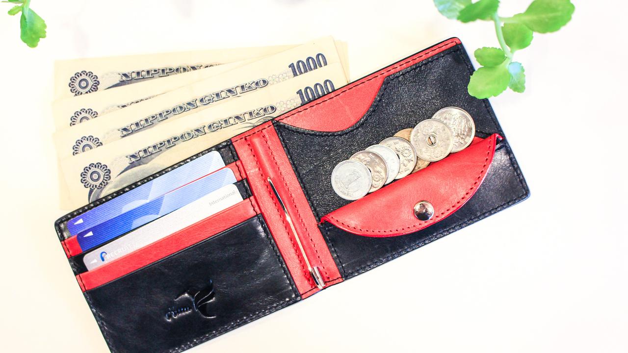 収納力抜群のオールイン型! 革職人手作りマネークリップ財布