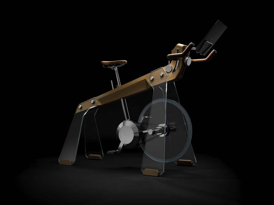 乗るのがもったいないほどすてき…。強化ガラスと木材でできたイタリア製の超高級インドアバイク