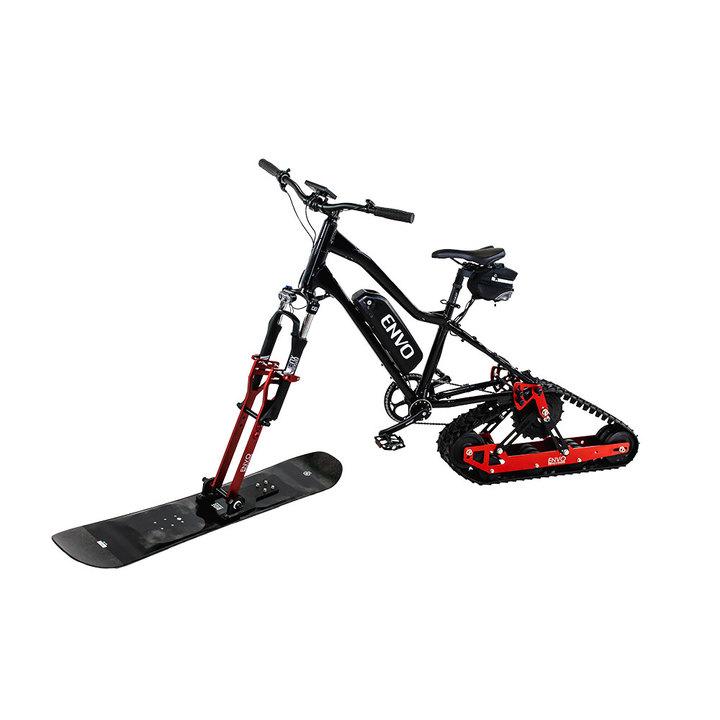 キャタピラとスキー板で雪の上を走る!マウンテンバイクを雪用eバイクにするキット