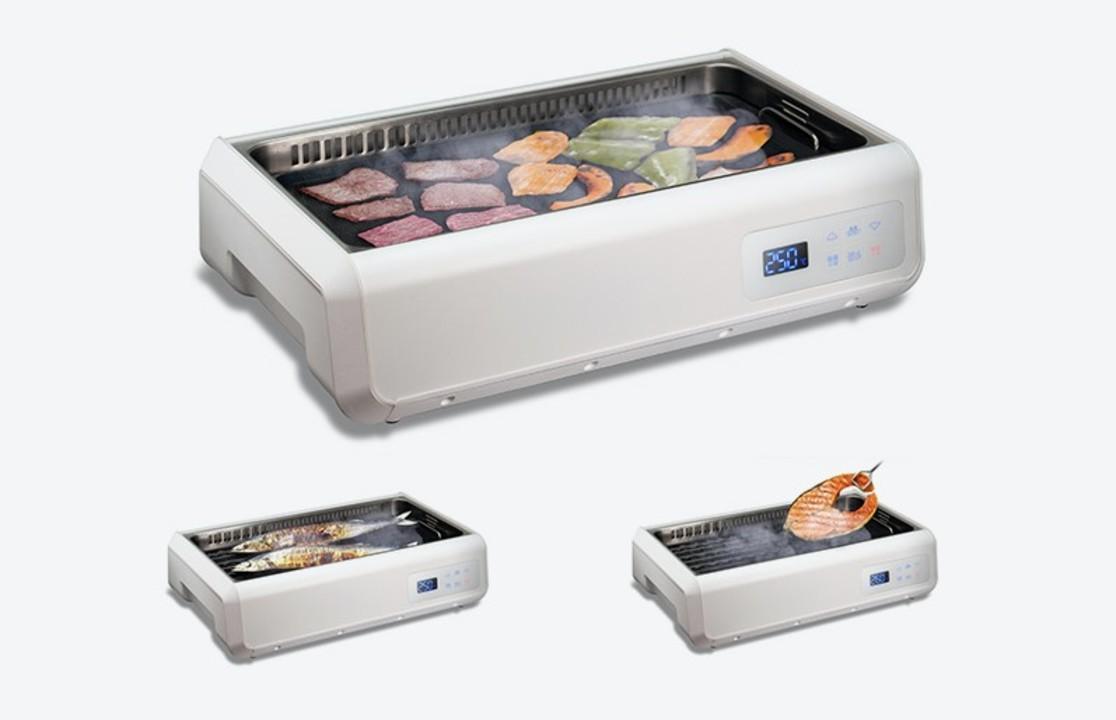 机の上で肉もサンマも焼ける!? 空気循環する無煙グリル調理器