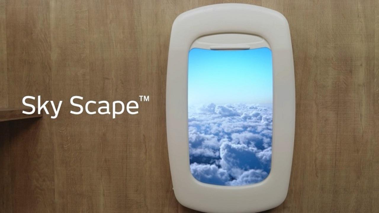 飛行機の窓から見える景色をリアルに再現したデジタル窓