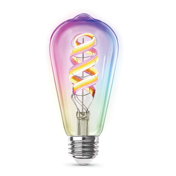 LEDの帯が入ったRGBスマート電球、スマホと音声アシスタントから調光と色も自在に変えられる