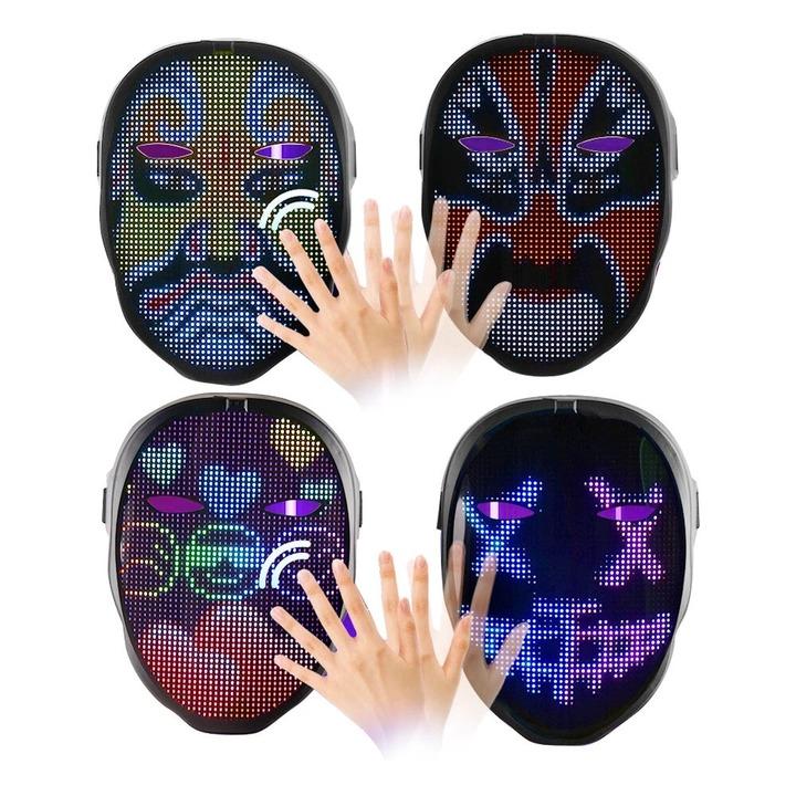 顔全体がLEDディスプレイのサイバーな「お面」。手かざしでモンスターの顔が次々変わる