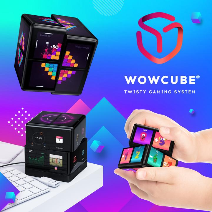 24のディスプレイを回して遊ぶデジタルなスマホ連動ルービックキューブ「WOWCube」