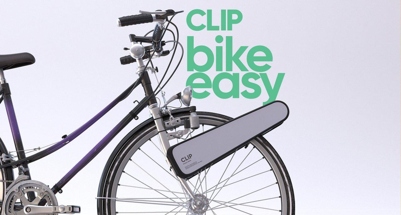 自転車の前輪に挟むだけ! どんなモデルもeバイクにするお手軽キット「CLIP」