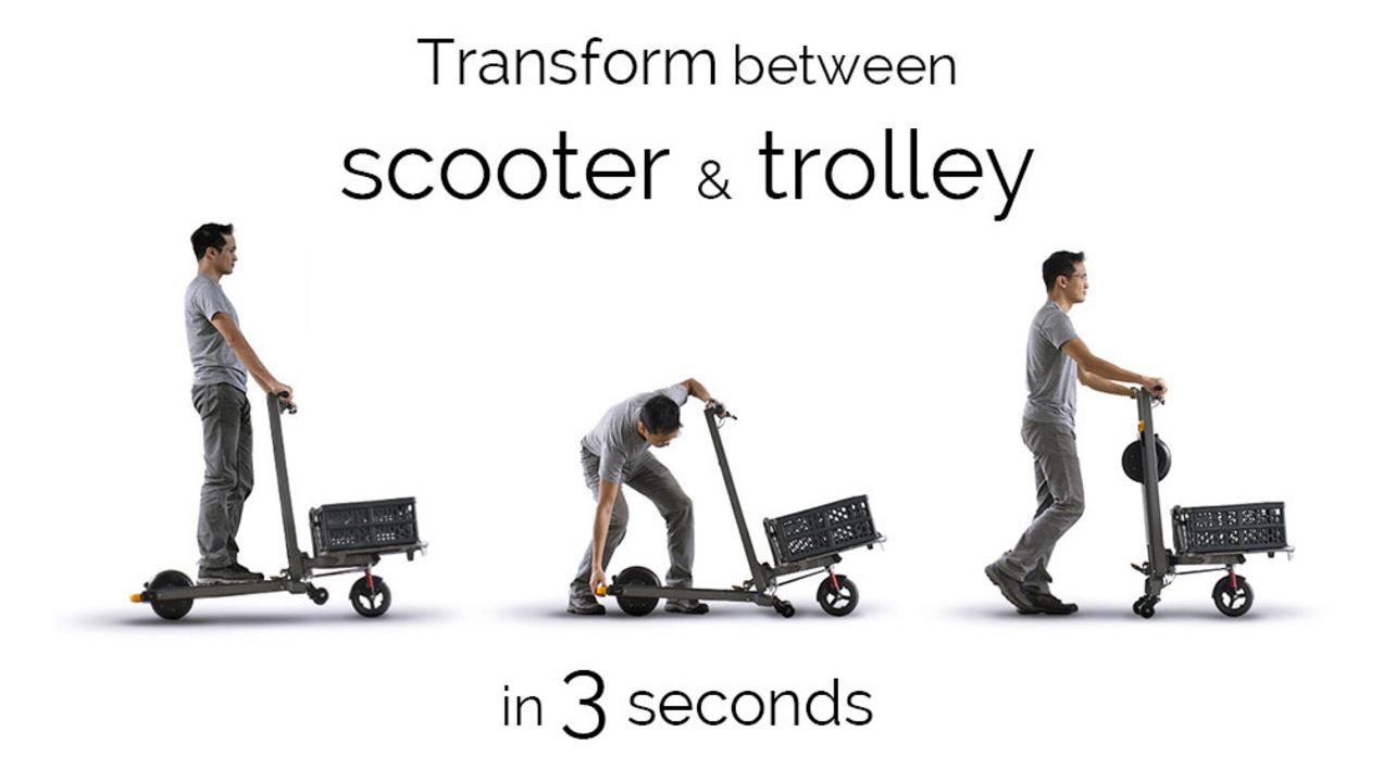 こりゃ便利! 3秒でネコ台車にトランスフォームするeスクーター「MIMO C1」