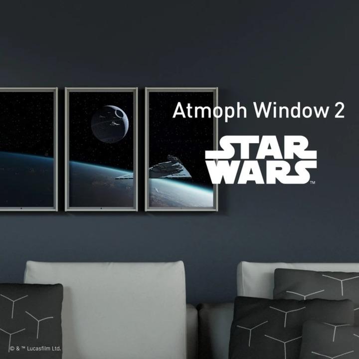 宇宙に住んでいるみたい。宇宙空間のデス・スターやスター・デストロイヤーが見える窓型のスマート・ディスプレイ