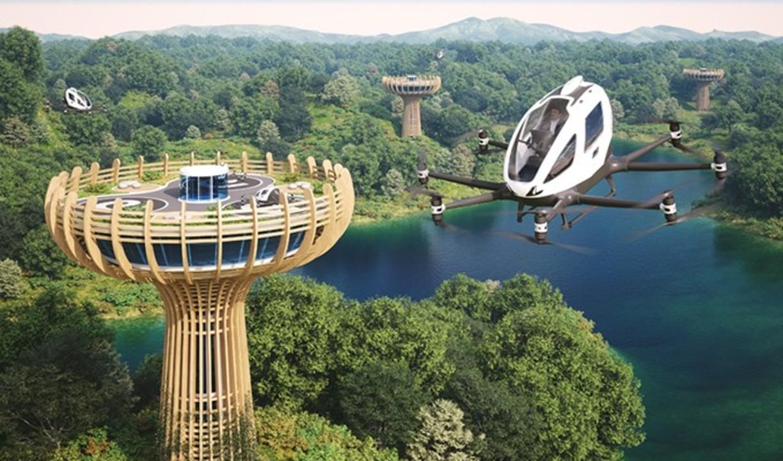 中国のeVTOL機メーカー「eHang」がイタリアの設計事務所と樹木型エアポートを考案。EUの森を異世界にしそう