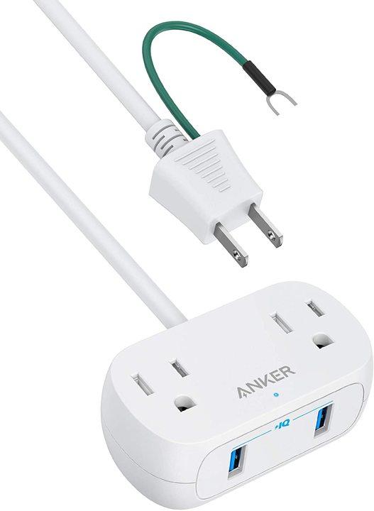 Ankerの電源タップは2口コンセント+2ポートUSB。省スペースで賢い