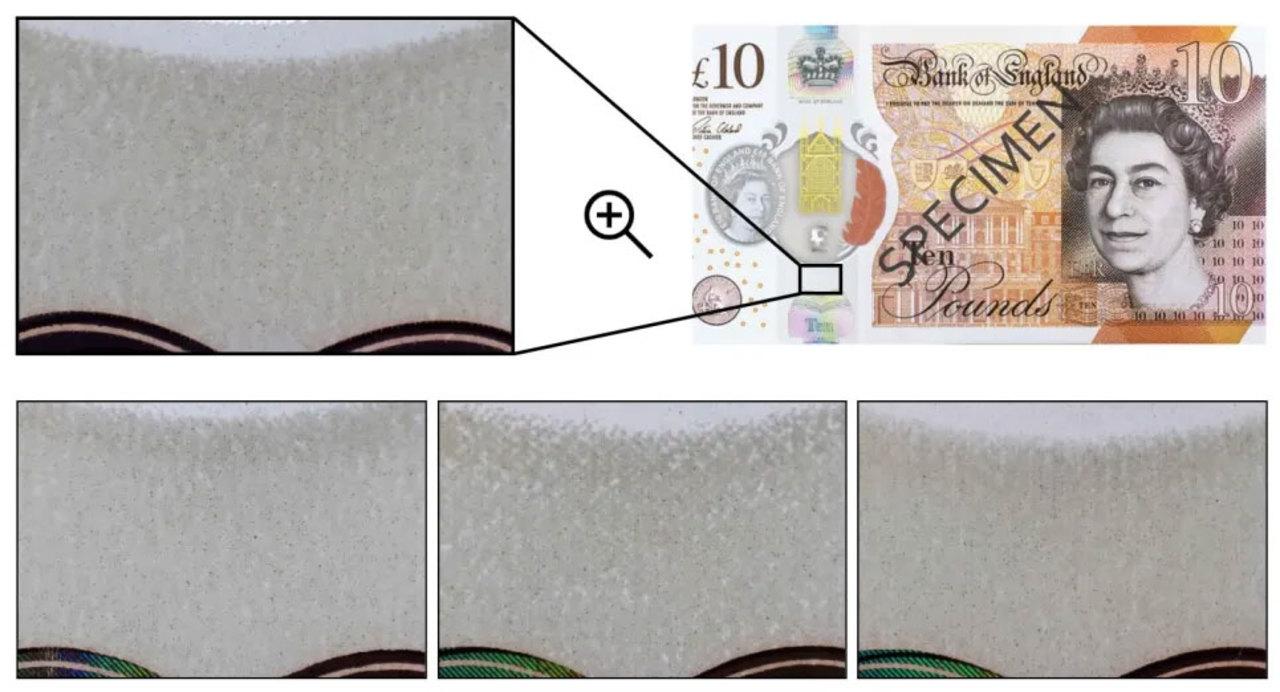 ポリマー型紙幣には、偽札と見分けるための「指紋」がある
