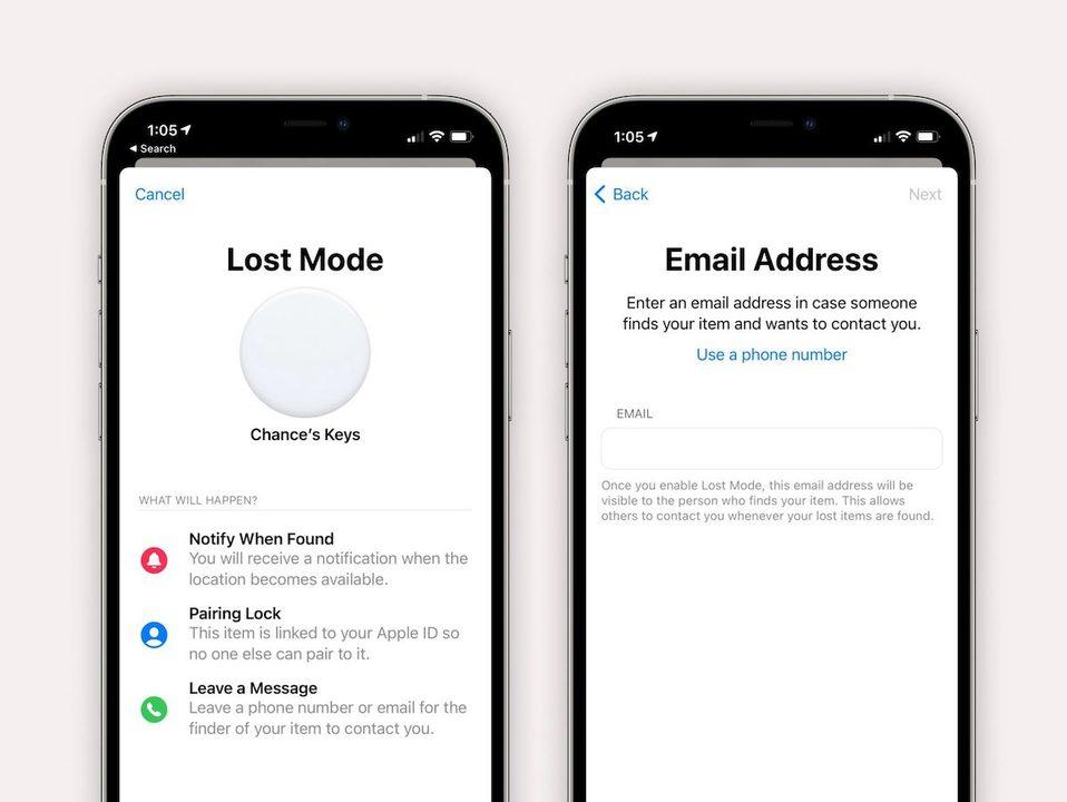 AirTagの紛失時メールアドレス表示、iOS 14.6でできそう