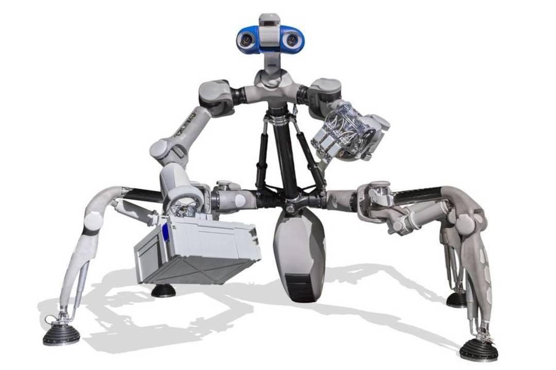 カマキリ型の月面探査ロボ「マンティス」。6本脚で歩行し物を掴んで基地も組み立てる