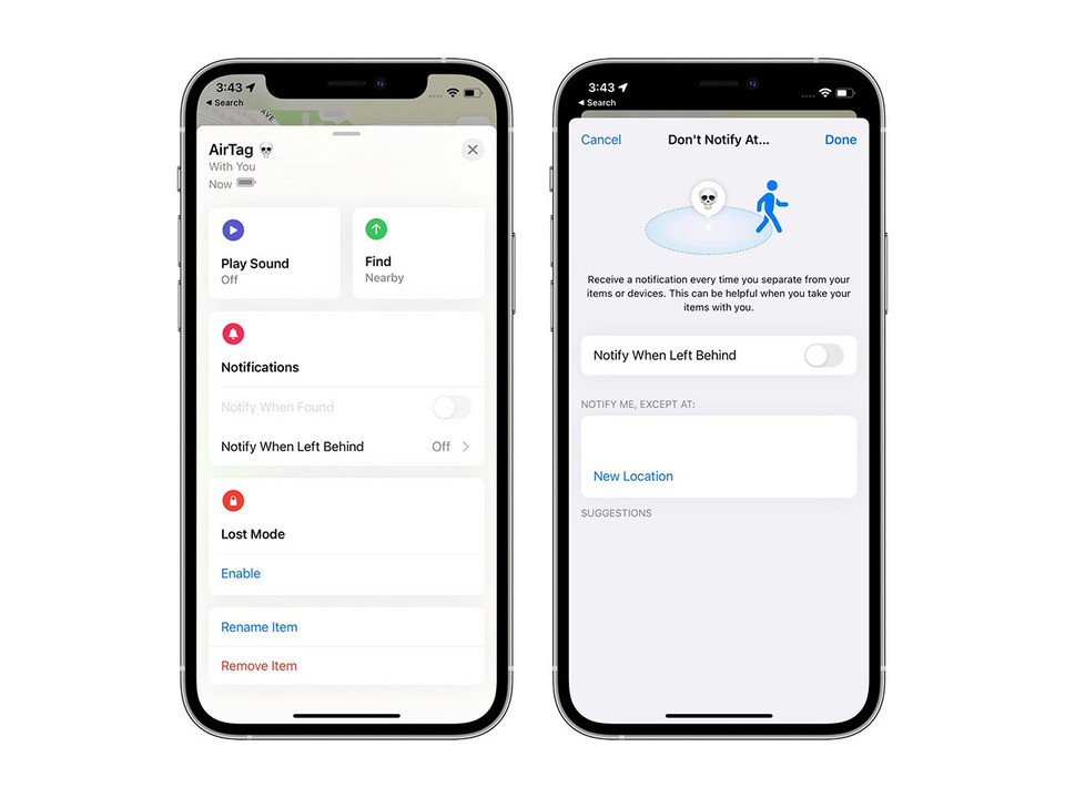 iOS 15、AirTagやアップル製品から離れるとアラートがなるように