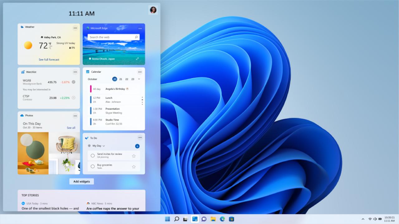 Windows 11のウィジェットはAIによる自動生成です