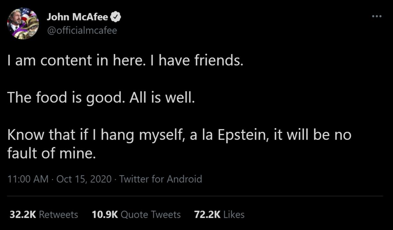 獄中首つり自殺のジョン・マカフィーが残したツイートが気味悪いほど予言的