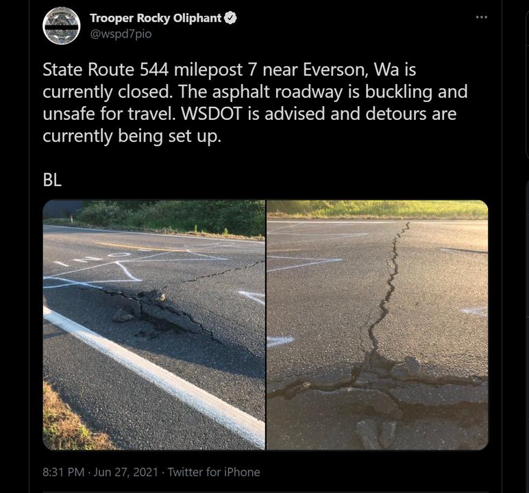 熱波で道路が浮く(カナダ・米北西岸)