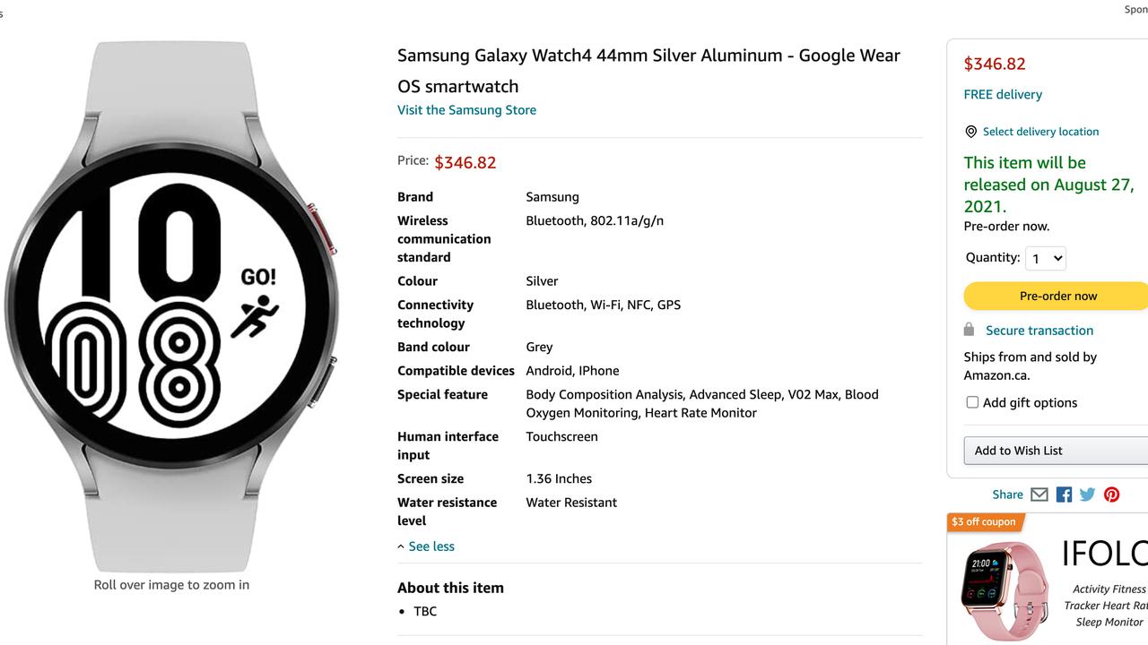 おっと! サムスンのGalaxy Watch 4が加アマゾンからリーク