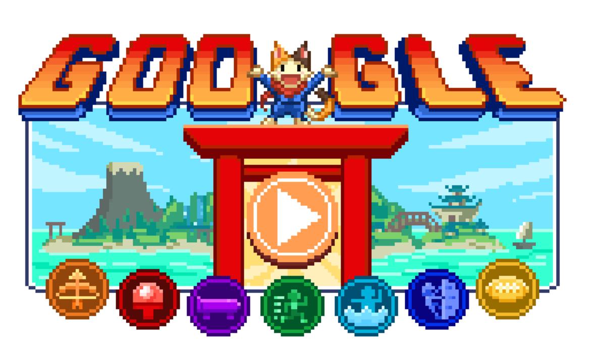 東京五輪記念。Googleに昭和風アニメと16ビット風RPGゲームで遊べる「Doodle チャンピオン アイランド ゲーム」が登場