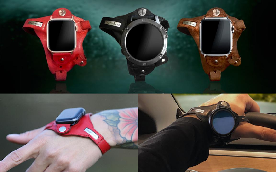 手首ではなく手の甲にApple Watchを装着できるバンド。心拍測定も可能