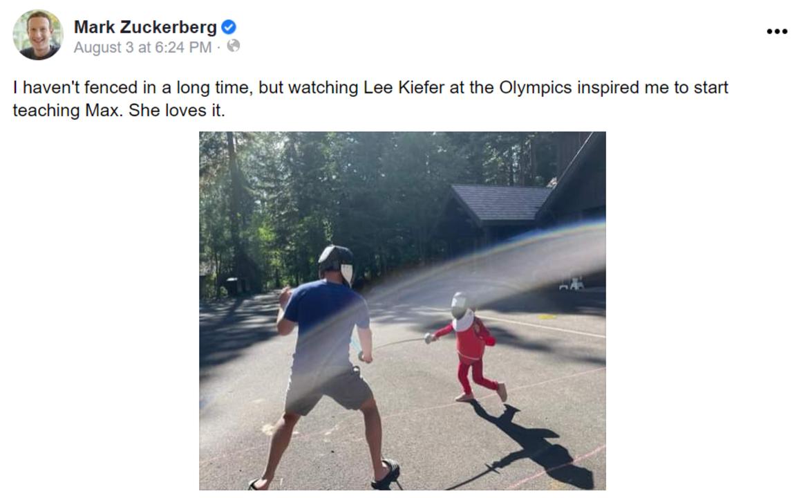 五輪で久々にフェンシングに目覚めて娘に特訓するマーク・ザッカーバーグ
