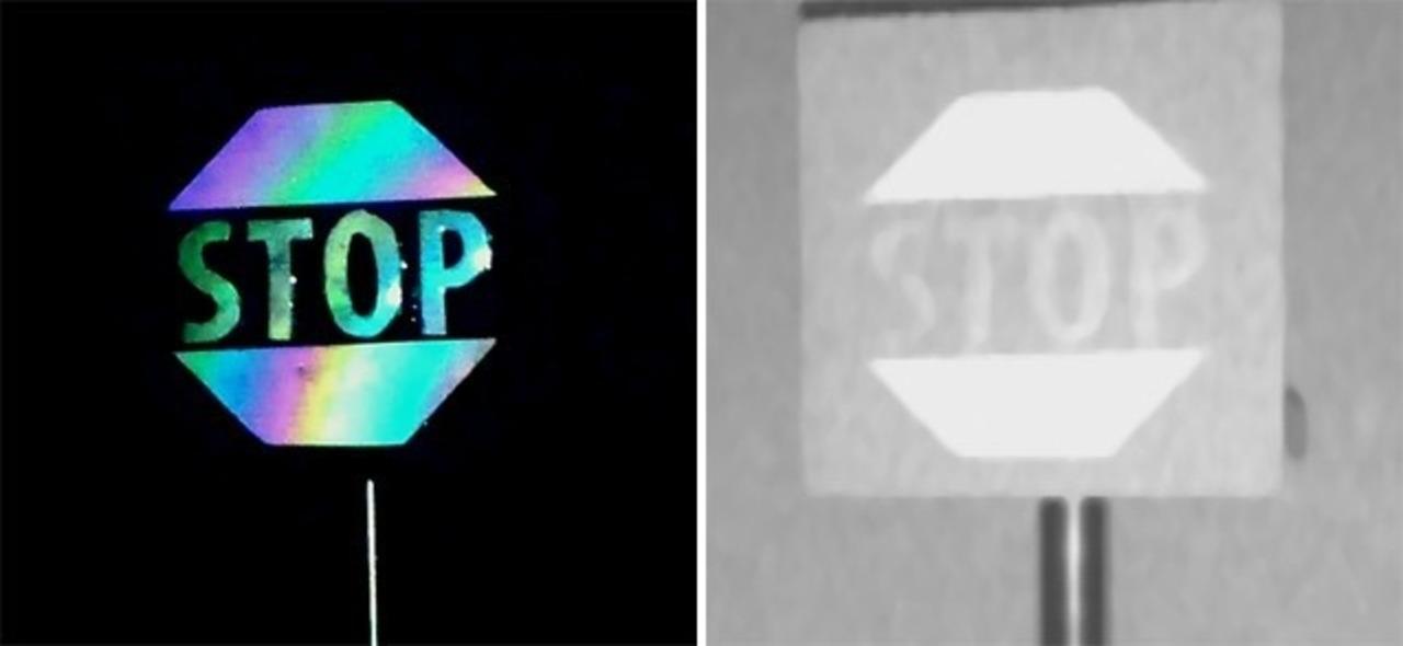 交通標識は虹色に反射した方が自動運転車から認識されやすいかも?という研究